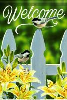 Chickadee Garden Gate House Flag