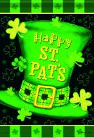 Happy St Pat\'s Hat House Flag