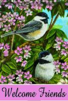 Chickadees And Blossom House Flag