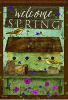Welcome Spring Birdhouse House Flag