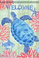 Swimming Sea Turtle House Flag