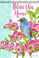 Bluebird And Dogwoods House Flag