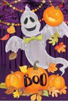 Ghouly Ghost Glitter Garden Flag