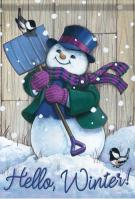Winter Snowman/Shovel Garden Flag