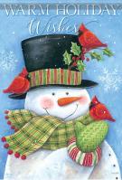 Cardinal Hat Snowman Garden Flag