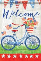 Patriotic Bike Ride Garden Flag