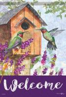 Hummingbird Home Garden Flag