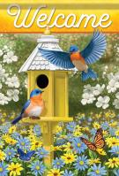 Delightful Bluebirds Garden Flag