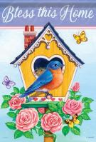 Rose Birdhouse Garden Flag