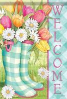 Spring Boots Glitter Garden Flag
