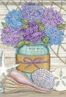 Hydrangeas At The Beach Glitter Garden Flag