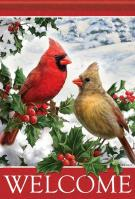 Cardinals & Holly Garden Flag
