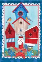 Red, White & Birdhouses Garden Flag