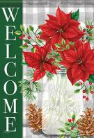 Pinecones & Poinsettias Garden Flag