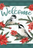 Poinsettia Chickadees Garden Flag