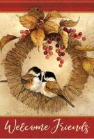 Cheerful Chickadee House Flag