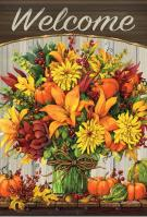 Fabulous Fall Flower House Flag