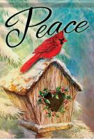 Peace Birdhouse House Flag