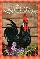 Rooster Welcome House Flag