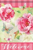 Blushing Peonies House Flag