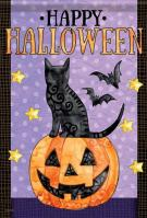Spooky Cat & Bats House Flag
