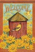 Daisy Birdhouse House Flag