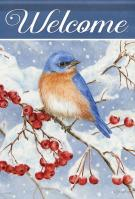 Bluebird & Berries House Flag