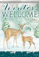 Winter Deer Welcome House Flag