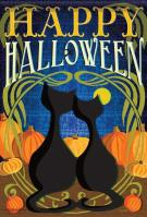 Black Cats Halloween House Flag