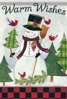 Warm Wishes Snowman House Flag