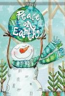 Peace On Earth Snowman House Flag