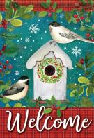 Chickadee Birdhouse Welcome House Flag