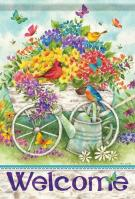 Garden Flower Cart House Flag
