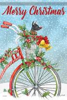 Christmas Bike House Flag