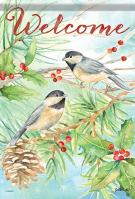 Watercolor Chickadee House Flag