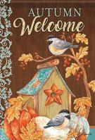 Chickadee Birdhouse House Flag