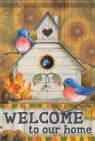 Autumn Bluebirds House Flag