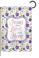Jesus Lives Here Garden Flag