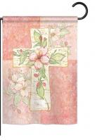 Pink Flower Cross Garden Flag