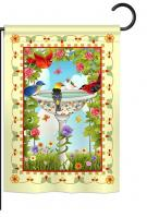 Bathing Birds Ivory Garden Flag