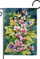 Orchids And Hummingbirds Garden Flag