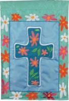 Floral Cross Applique House Flag