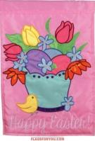 Happy Easter Applique House Flag