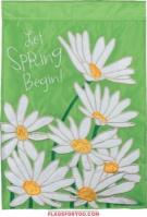 Spring Daisies Applique Garden Flag