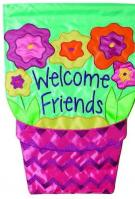 Welcome Flower Pot Applique House Flag
