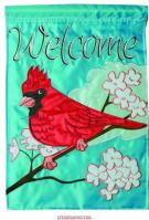 Cardinal / Tree Applique Garden Flag