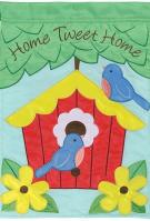 Home Tweet Home Double Applique Garden Flag
