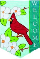 Cardinal Welcome Double Applique Garden Flag