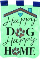 Happy Dog/Happy Home Double Applique Garden Flag
