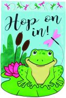 Hop On In Double Applique Garden Flag